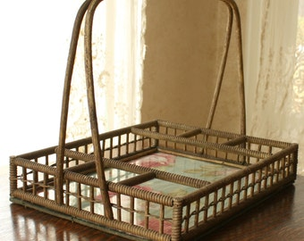 Antique Victorian Wicker Handled Carrier Basket