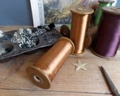 Old FRENCH wooden bobbin spool with silk thread from Lyon weaving industry
