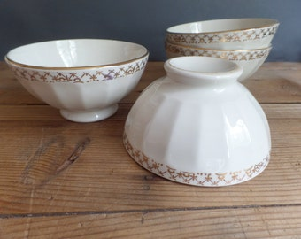 Vintage set of 2 FRENCH BOWLS embossed white & golden patterns