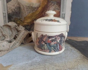 vintage large traditional french country Sarreguemines earthenware pot for foie gras