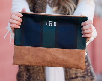 Monogrammed Plaid Cosmetic/Accessory Bag - great for the beach, pool and everyday use...
