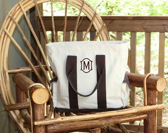 Monogrammed Travel tote with leather handles and side pockets
