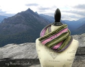 Ladies Hand Knit Cowl in Pink Purple and Green - Bouquet