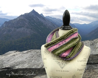Pink Purple Green Cowl, Ladies Cowl, Handknit Cowl, Women's Cowl, Handmade Cowl, Fall Winter Cowl, Made in Montana, Ready to Ship