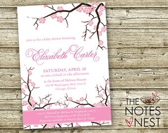 Cherry Blossom Baby Shower Invitation (or Bridal Invitation) - Custom Printable