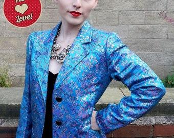 Original Vintage YSL Rive Gauche Teal Floral Brocade Jacket/Blazer UK Size 8/10