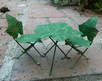 Fairy garden Table and Chairs Miniature Furniture Bistro Set Miniature Ivy Leaf Bistro Set