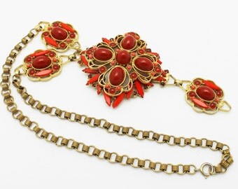 Vintage Juliana Necklace Carnelian Red Cabochons and Scrolls