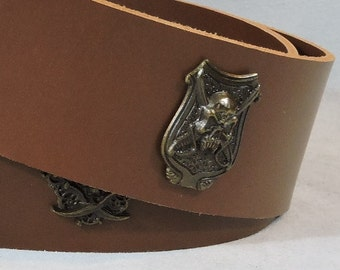 In-Stock 2.5 inch, Brown, Plain with Pirate Skull Adornment Casual Leather Kilt or Pirate Belt