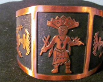 Vintage Copper Cuff Bracelet with Hopi Kachina Design