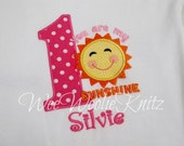Girls You Are My Sunshine Birthday Shirt  Applique Personalized 1st 2nd 3rd 4th Tshirt Toddler Children