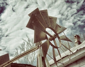 Windmill Photography, Industrial Kitchen Art, Country Rustic Decor