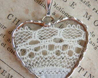 Fiona & The Fig -  Antique Victorian  Lace- Charm - Necklace - Pendant - Jewelry