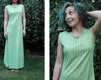 Vintage 90s does 60s PSYCHEDELIC Rave Club Kid LIME Green Geometric Print Sleeveless Maxi Dress - Med M