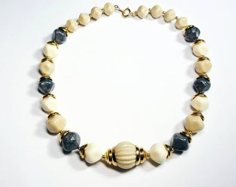 Vintage Trifari Name Brand Jewelry: Tan, Ivory & Black Labradorite Dented Round Nugget Beads Necklace w/Gold Ribbed Dome Caps FREE SHIPPING