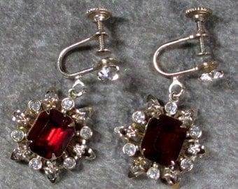 Sale Pre Holliday Antique Red and Clear Rhinestone Dangle Snowflake Earrings, Fleur De Lis Filigree Flower or Snowflake