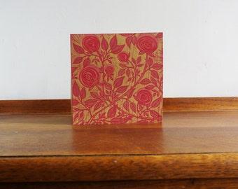 Roses, Mother's Day, Original Hand Printed Card, Linocut Card, Blank Greeting Card, Brown Kraft Card, Free Postage in UK,