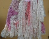20%OFF vintage inspired strawberry and cream wrap skirt.a work of art and love...42'' across plus ties