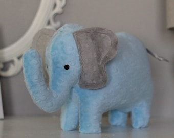 Stuffed Elephant Toy - Blue and Gray Minky Plush Elephant - Elephant Toy - Nursery Decor - Baby Christmas Gift - Kids Christmas Gift