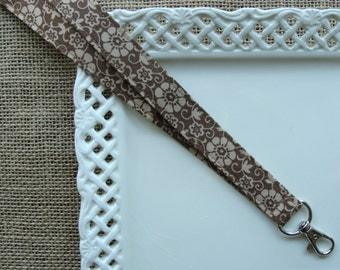 Fabric Lanyard ID - Chocolate Flowers