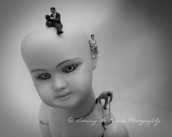 weird and cool doll art photo with miniatures, memories, creepy toys, outsider art,  black and white photo