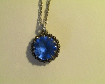 Vintage Blue Cut Paste Stone and Marcasite Art Deco Sterling Silver Pendant Necklane and Rope Chain