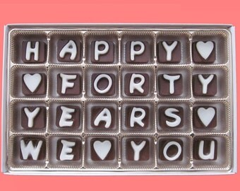 40th Anniversary Gift for Parents 40 Years Wedding Anniversary Couple Gift from Child Happy Forty Years We Love You Cubic Chocolate Letter