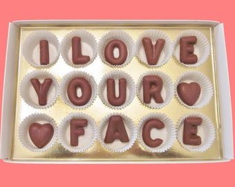 Anniversary Gift for Girlfriend Boyfriend Gift Men Gift for Him Valentines Gift Handsome Pretty Face I Love Your Face Milk Chocolate Letters