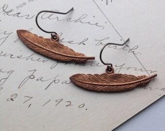 Feather Earrings Metal Dangle Boho Rock and Roll Style