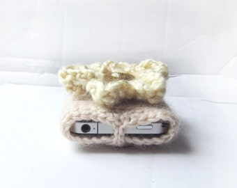 iPhone5, 6, 6 Plus Case, Crochet iPhone Case in Beige and White, Android Case - Neutral Tones Earth Nature