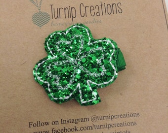 Shamrock Hair Clip St. Patricks Day Felt Hairclip Clover Hair Clip Glitter  Girls Hair Clip Green and White Hairclip