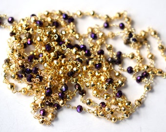 Vermeil Gold and Purple Crystal Rondelle 3mm Chain - 1 Foot