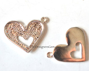 One Detailed Sterling Silver Heart Charm 19 x 14mm