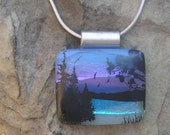 Peaceful Lake Necklace Fused Dichroic Glass Nature Pendant