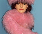 Fabulous Faux Fur Boa  and Hat in Pink with Gold Lyrex Sparkle