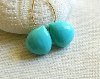 Matched pair of Rare focal AAA Sleeping Beauty Turquoise microfaceted heart briolettes beads 11.5mm x 10.5mm and 11.5mm x 10mm