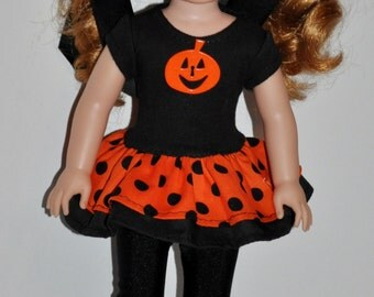 """American girl """"Wellie Wishers"""" hand made doll dress with leggings."""