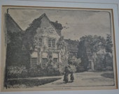 Vintage - Orpington Priory - Picture - Engraving - Framed - Library - Museum - Kent - England