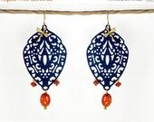 20 off. Moroccan earrings, Chandelier filigree earrings. orange and blue earrings, Indie jewelry, carnelian earrings. Boho earring