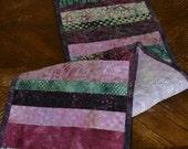 Purple Batik Table Runner, Dresser Scarf, Quilted Table Runner
