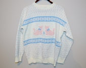 SALE.....Vintage Sweater Urban Twin Kitties 80's