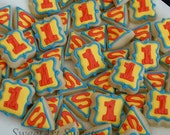 Superhero cookies - 2 dozen superman MINI cookies - birthday cookies
