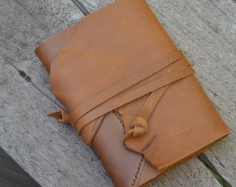 """ROUGH & SMOOTH: One-of-a-kind Leather Journal, handmade, 5X7"""", Rustic"""