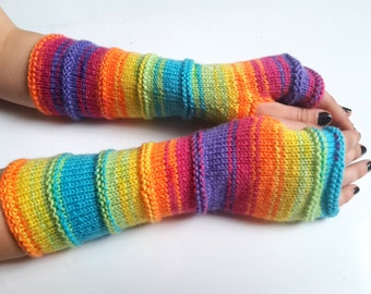 Fingerless Gloves, Long Cuff Gloves Multicolored