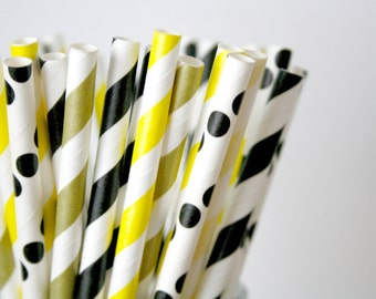 bumble bee baby shower decor, bumblebee paper straws, black yellow and gold birthday party decorations