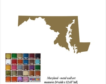 "Maryland map metal wall art - 24"" wide - MD wall decor - choose your color - USA art state wall art - Baltimore Columbia Germantown Waldorf"