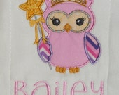 Personalized Owls Burp Cloth SINGLES