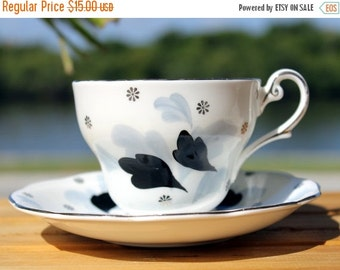 Royal Standard Teacup, Tea Cup and Saucer, Hand Painted, Vintage Tea Cup, Black Magic 13141