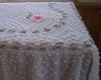 Vintage chenille bedspread full size pink roses.  B330-4