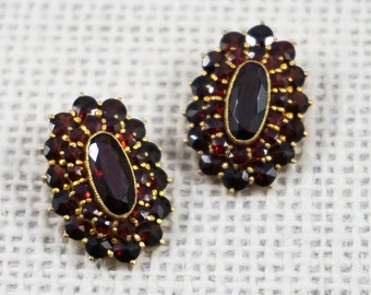 Vintage Bohemian Garnet Large Oval Cluster Gold Tone Earrings Victorian Style